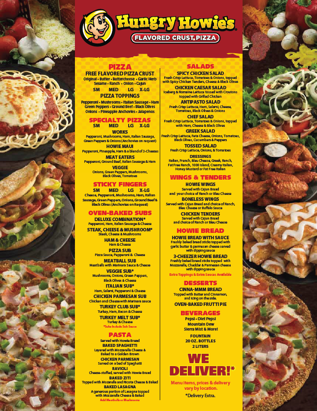 Hungry Howies Logo Hungry Howies Menu Crust